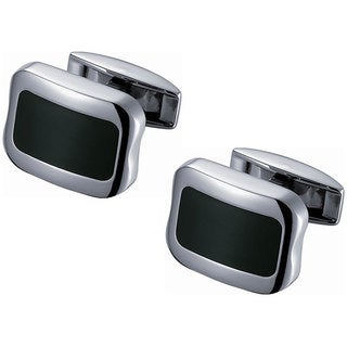 Stainless Steel Square Titanium and Black Enamel Cufflinks