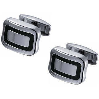 Stainless Steel Titanium with Thin Black Enamel Square Cufflinks