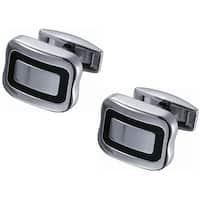 Stainless Steel Titanium with Thin Black Enamel Square Cufflinks