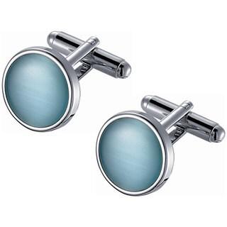 Stainless Steel Round Light Blue Catseye Cufflinks