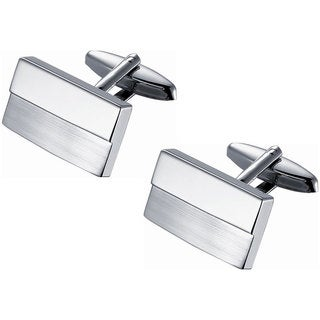 Rhodium-plated Stainless Steel Twin Shade Polished and Brushed Rectangular Cufflinks