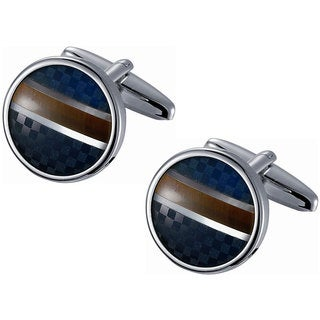 Stainless Steel Round Blue Checkered and Golden Amber Striped Cufflinks