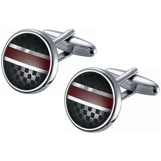 Stainless Steel Round Black Checkered and Red Striped Cufflinks