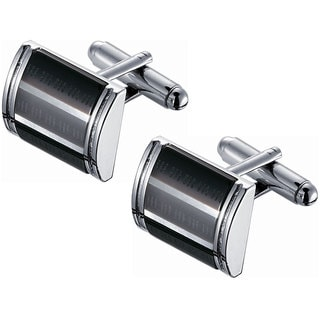 Stainless Steel 3-layer Black and Rhodium Cufflinks