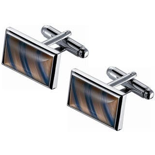 Stainless Steel Amber and Blue Diagonal Striped Catseye Cufflinks|https://ak1.ostkcdn.com/images/products/10564842/P17642568.jpg?impolicy=medium