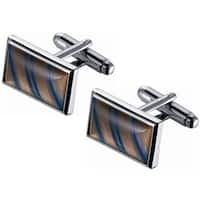 Stainless Steel Amber and Blue Diagonal Striped Catseye Cufflinks