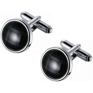 Stainless Steel Grey and Black Mosaic Round Cufflinks
