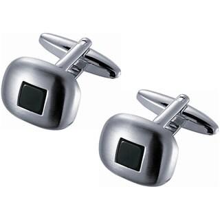 Stainless Steel Brushed Rhodium Square Black Onyx Cufflinks