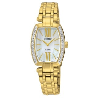 Seiko Women's SUR286 Stainless Steel Gold Tone Mother of Pearl Dial with 18 Diamonds on the Bezel Watch