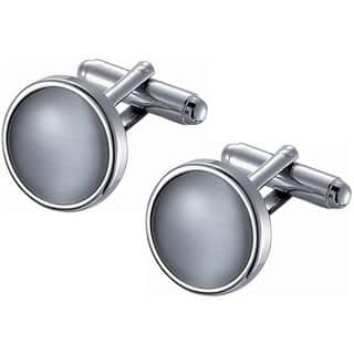 Stainless Steel Round Grey Catseye Cufflinks|https://ak1.ostkcdn.com/images/products/10564855/P17642580.jpg?impolicy=medium
