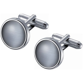 Stainless Steel Round Grey Catseye Cufflinks