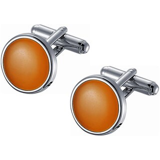 Stainless Steel Coral Catseye Cufflinks