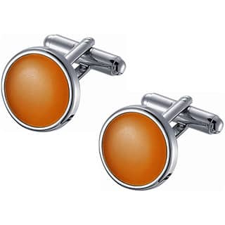 Stainless Steel Coral Catseye Cufflinks|https://ak1.ostkcdn.com/images/products/10564856/P17642581.jpg?impolicy=medium
