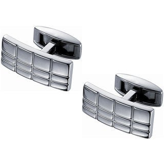 Stainless Steel Rectangular Grid Titanium Cufflinks