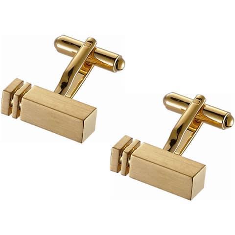 Stainless Steel Goldtone Modern Rectangular Bar Cufflinks