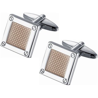 Stainless Steel Polished Rhodium Square Amber Center and Screw Pin Cufflinks
