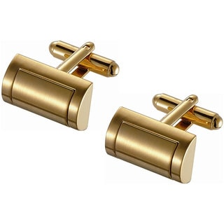 Stainless Steel D-Shaped Golden Satin Finish Cufflinks