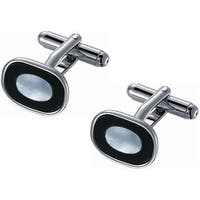 Stainless Steel Black Onyx Ice Blue Mother of Pearl Cufflinks