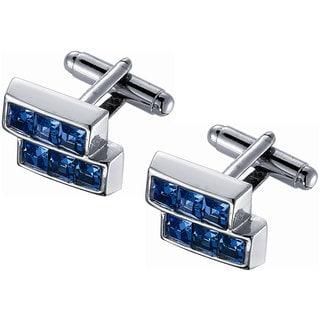 Stainless Steel Blue Crystal Silver Frame Cufflinks