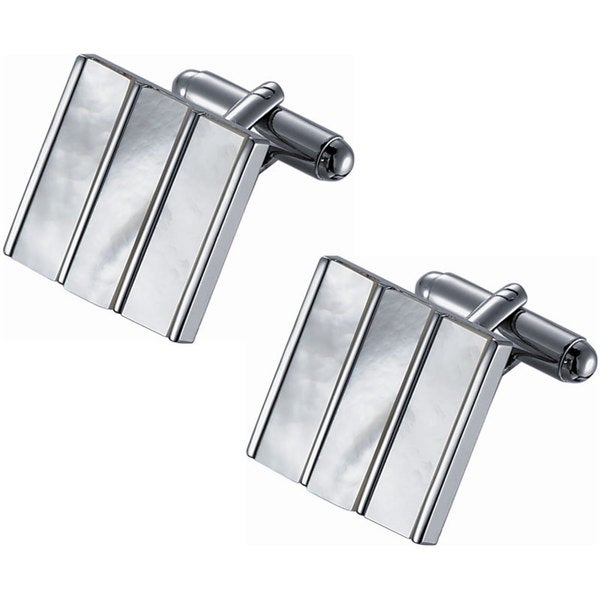 Stainless Steel Rhodium Plated White Mother of Pearl Cufflinks