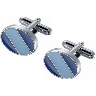 Rhodium-plated Stainless Steel Blue Enamel Striped Cufflinks