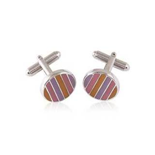 Stainless Steel New Age Style Multi-color Enamel Cufflinks