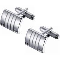 Polished and Satin Rhodium-Coated Stainless Steel Cuff Links