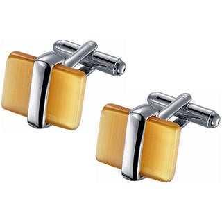 Rhodium-plated Stainless Steel Golden Amber Catseye Cufflinks