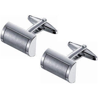 Stainless Steel Dual Finish D-shaped Cufflinks