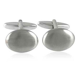 Stainless Steel Classic Brushed Finished Oval Cufflinks