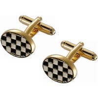 Stainless Steel Black and White Checkerboard Gold Frame Cufflinks