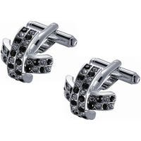 Stainless Steel Black and White Crystal X-shaped Cufflinks