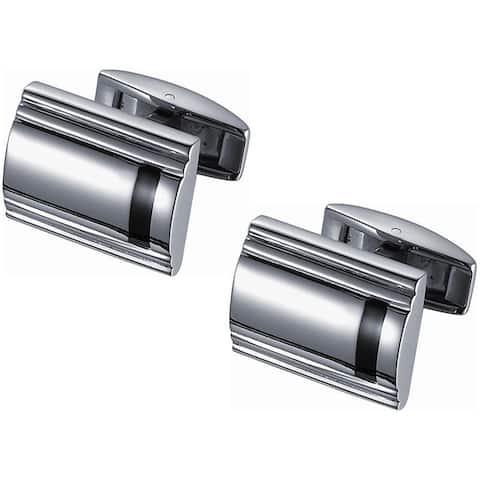 Stainless Steel Titanium and Black Enamel Cufflinks