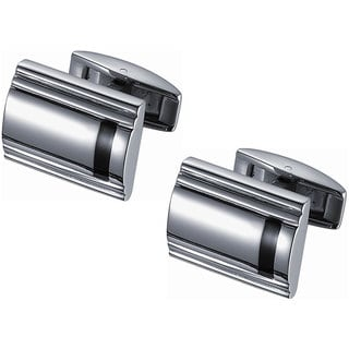 Stainless Steel Titanium and Black Enamel Cufflinks