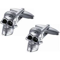 Satin Stainless Steel Skull Black Crystal Eye Cufflinks