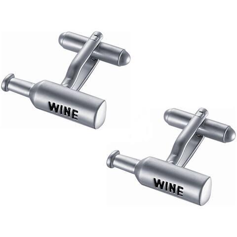Stainless Steel Wine Bottle Novelty Cufflinks