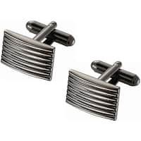Stainless Steel Titanium with Horizontal Stripes Cufflinks