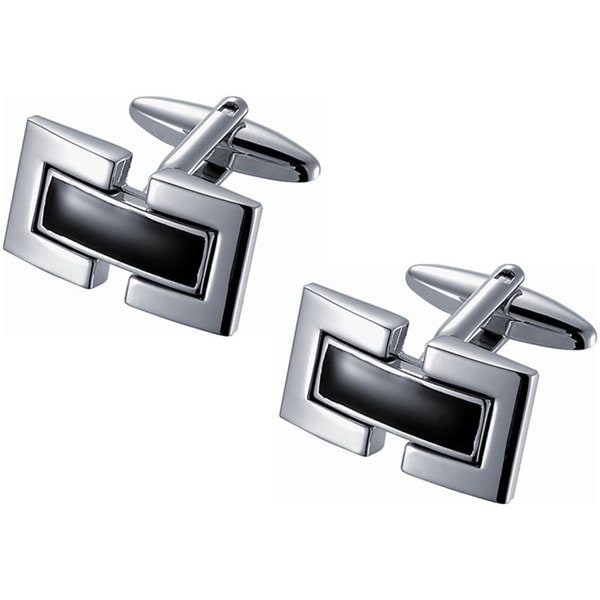 C Stainless Steel Grid with Black Cufflinks Classy New QX-363