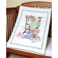 Stamped Baby Quilt Top 36inX50inStork