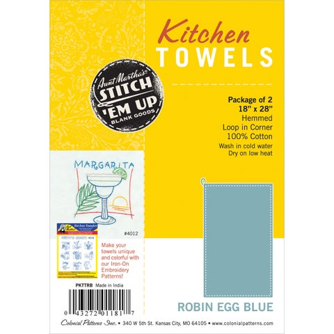 Stitch 'Em Up Hemmed Color Dyed Kitchen Towels 18inX28in 2/PkgRobin Egg Blue