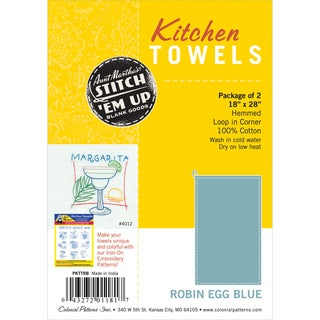 Stitch 'Em Up Hemmed Color Dyed Kitchen Towels 18inX28in 2/PkgRobin Egg Blue