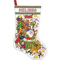 Santa & Sleigh Stocking Counted Cross Stitch Kit17in Long 14 Count