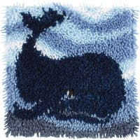 Wonderart Latch Hook Kit 12inX12inBig Blue Whale