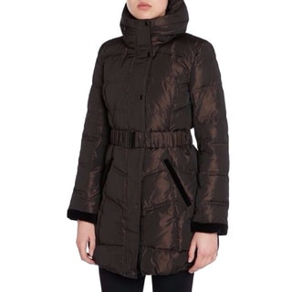 Dawn Levy Women's Solid Bronze Brown Belted Hooded Down Jacket