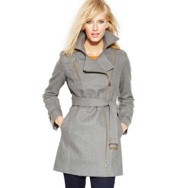 Michael Michael Kors Women's Grey Wool Belted Asymmetrical Coat ...