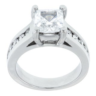 Paladium 1/2ct TDW Diamond and Cubic Zirconia Engagement Ring (G-H, SI1-SI2)