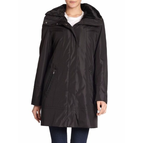 Marc New York By Andrew Marc Women's Plus Size Black Faux Fur Lined Storm Coat