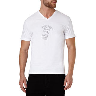 Versace Collection Men's White V-Neck Medusa Studded Short Sleeve T-Shirt