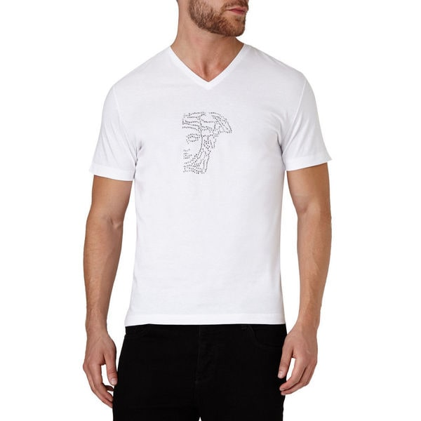 Versace Collection Men's White V-Neck Medusa Studded Short Sleeve T