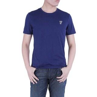 Versace Collection Men's Blue Crew Neck Medusa Cotton Short Sleeve T-Shirt
